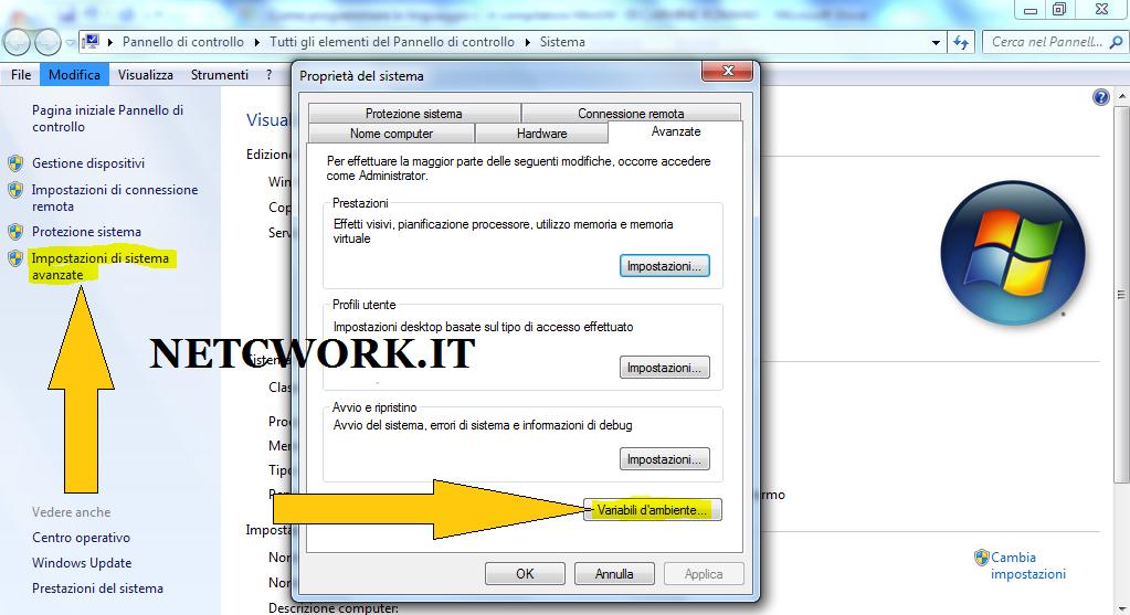 Come creare una variabile di ambiente: Immagine illustrativa della finestra di accesso alle variabili di sistema in Windows 7