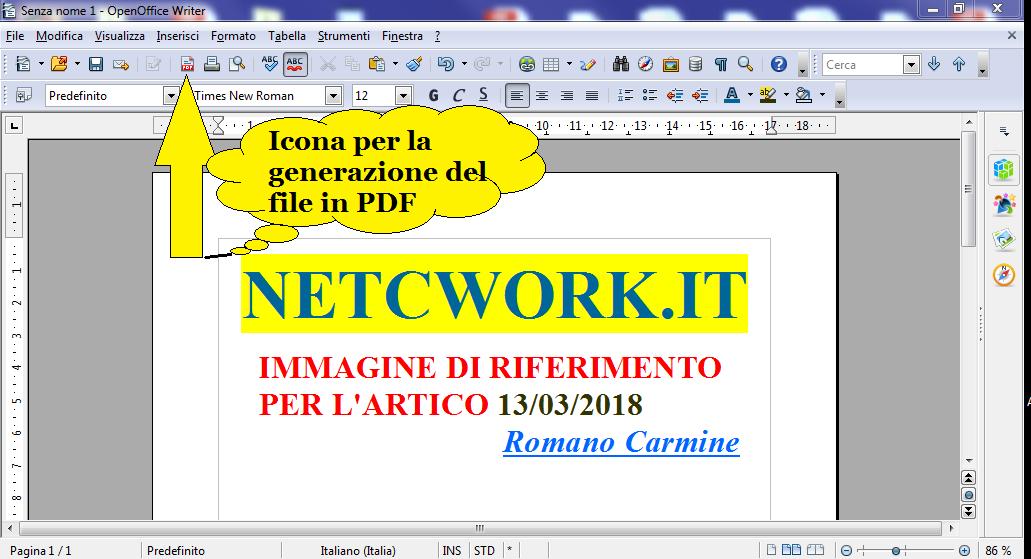 Come esportare file PDF con Open Office