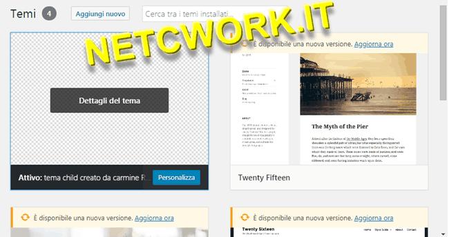 Creare un tema child per WordPress: immagine non visibile, aggiornare il Browser