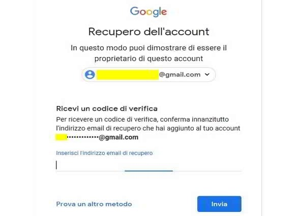 Recupero password Gmail