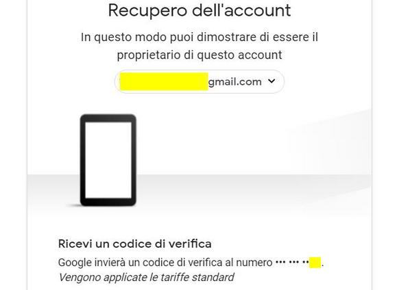 Recupero account Google via sms