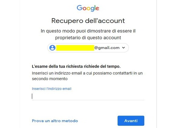 Esame della richiesta recupero account Google