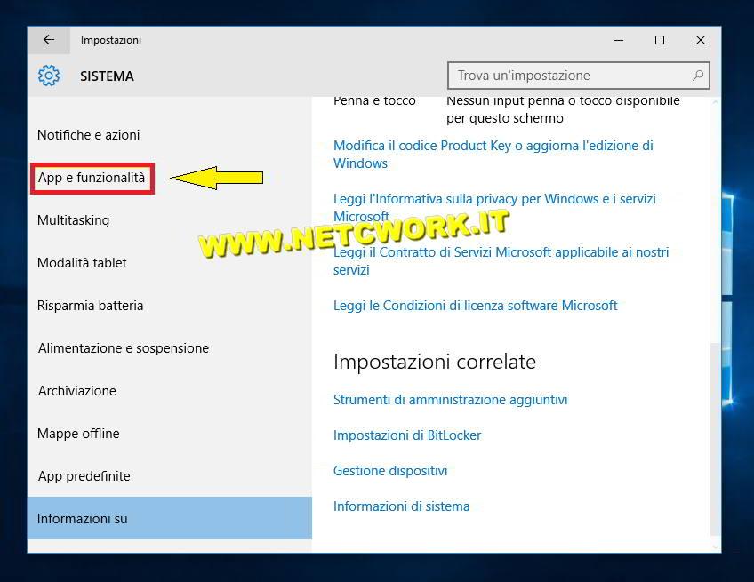 Come disinstallare un programma in Windows 10