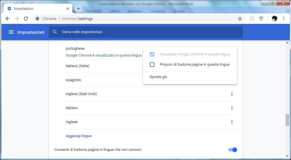 Come impostare un lingua in Google Chrome