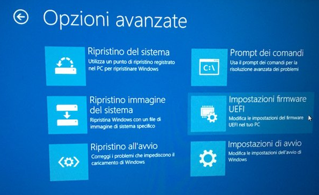Come accedere al bios uefi in Windows 10