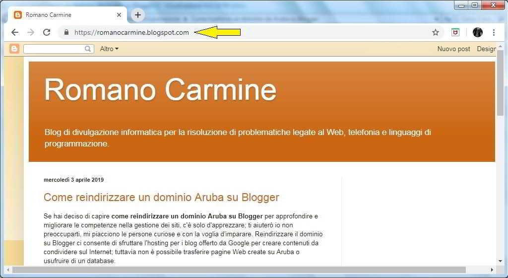 Come reindirizzare un dominio da Aruba su Blogger