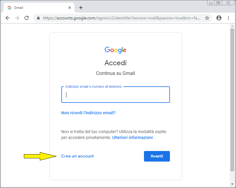 Come creare un account email su Google
