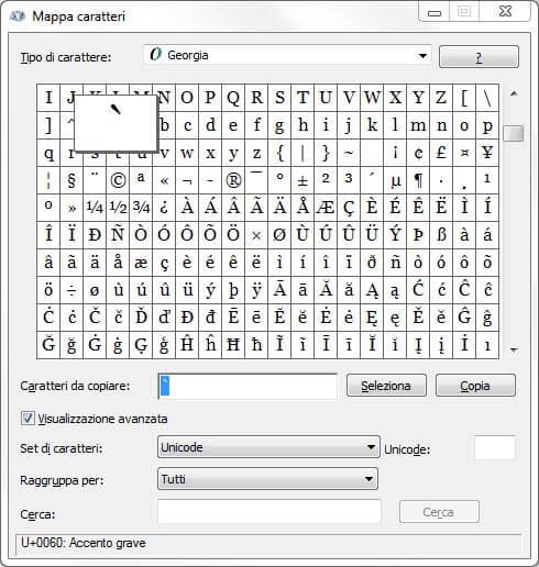 Come digitare il carattere del backtick dal PC