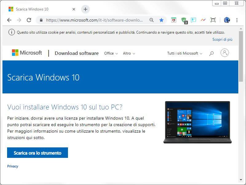 Software per scaricare ed installare Windows 10