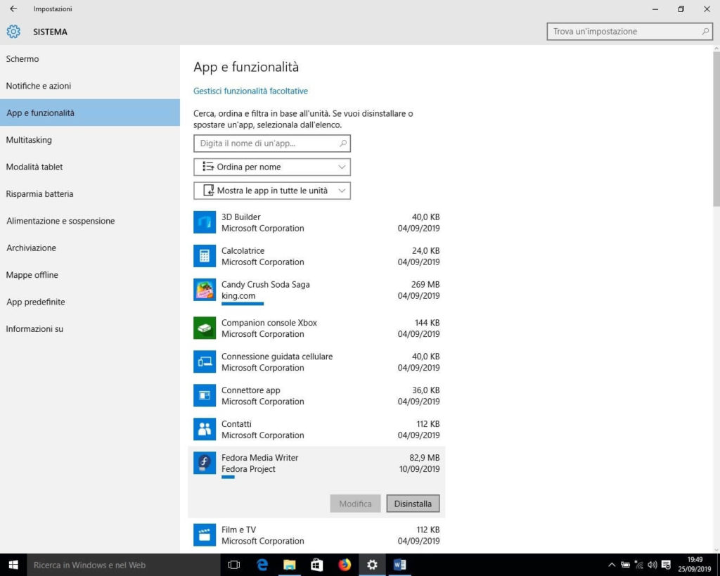 Come disinstallare un programma in Windows 10