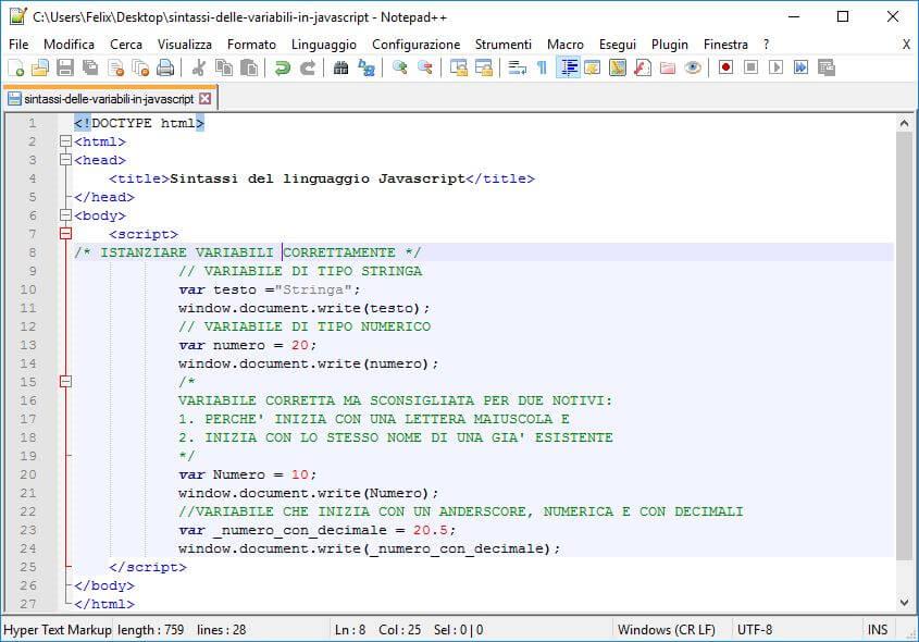 Sintassi del linguaggio Javascript