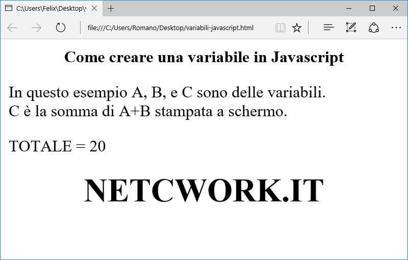 Come creare una variabile in Javascript