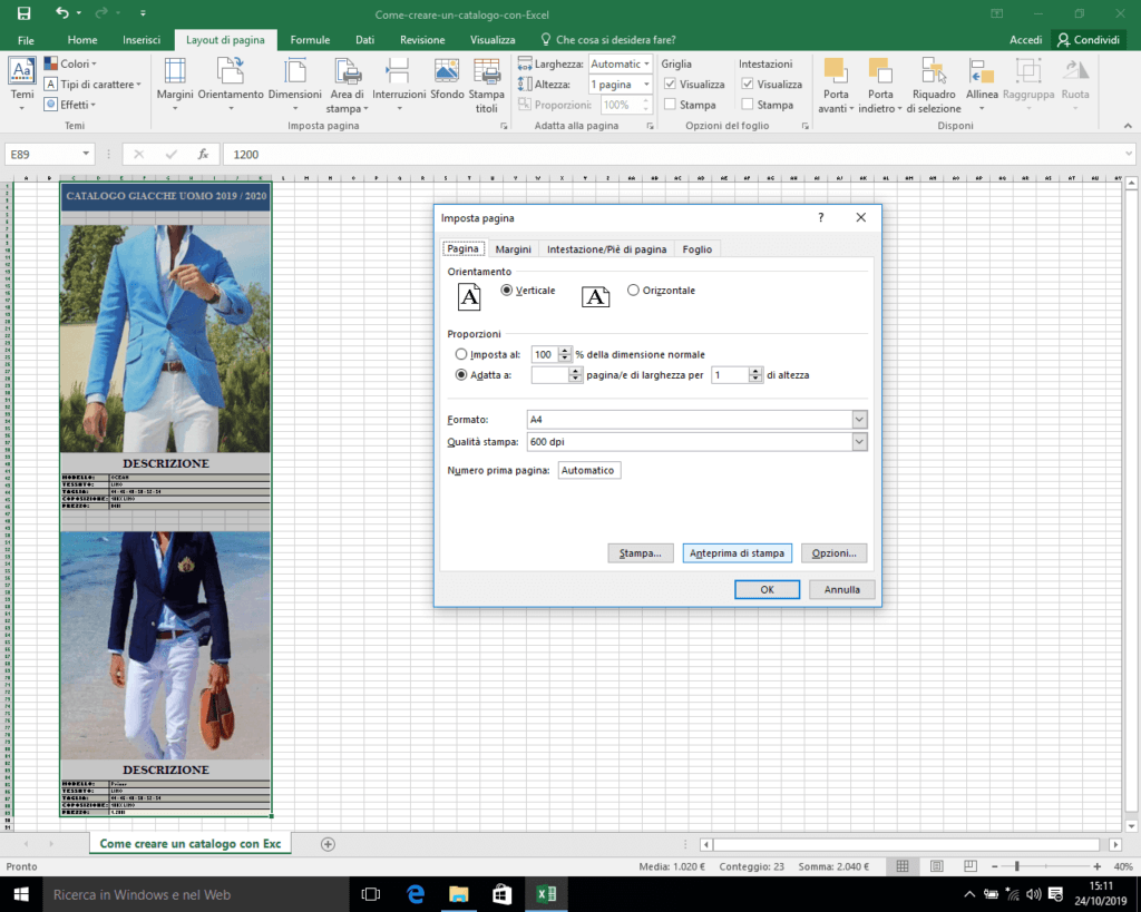 Anteprima di stampa in Excel