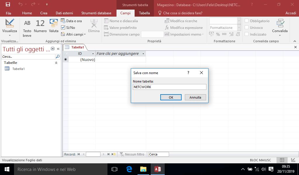 Creazione di una tabella in Access