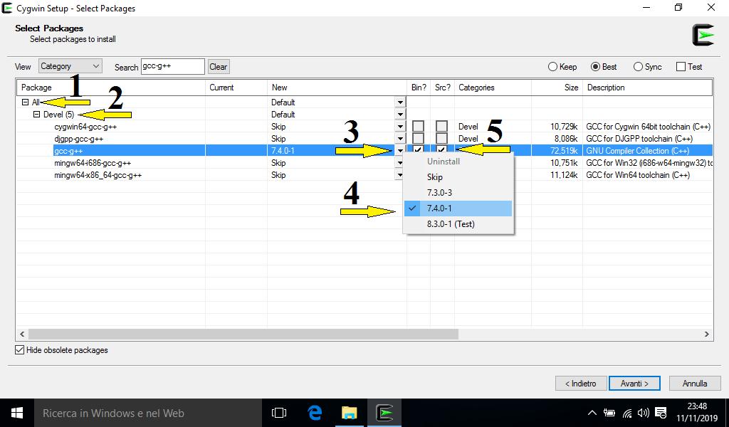 Come installare un compilatore c c++ su Windows con Cygwin