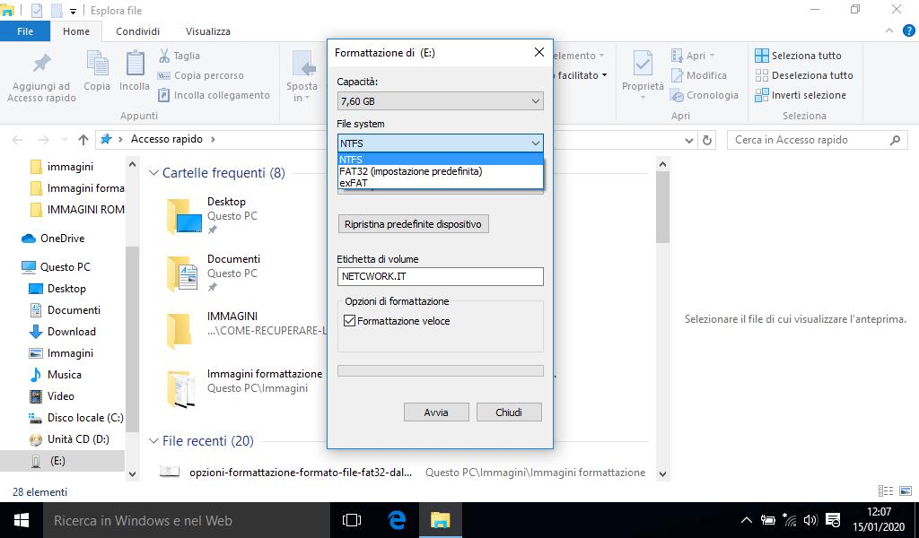 Come formattare una chiavetta USB con Windows 10
