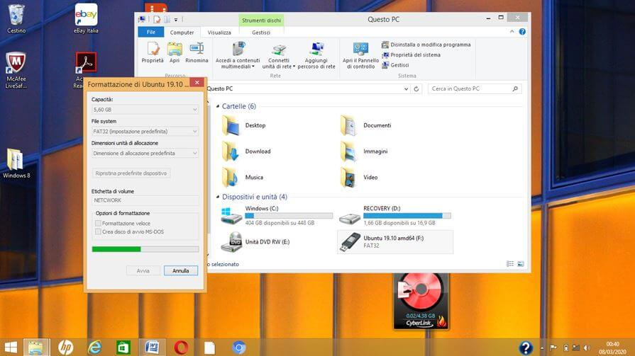 Formattare chiavette USB con Windows-8