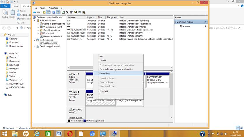 Formattare dischi in Windows 8