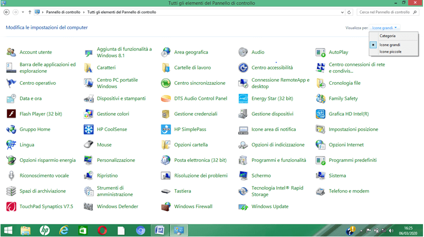 Pannello di controllo in Windows 8