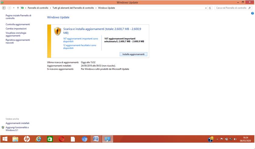Fare gli aggiornamenti in Windows 8