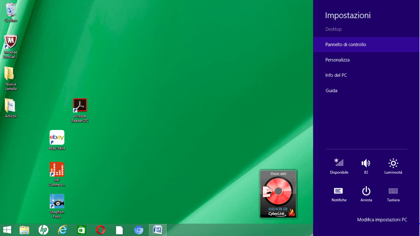 Accedere al pannello delle impostazioni in Windows 8