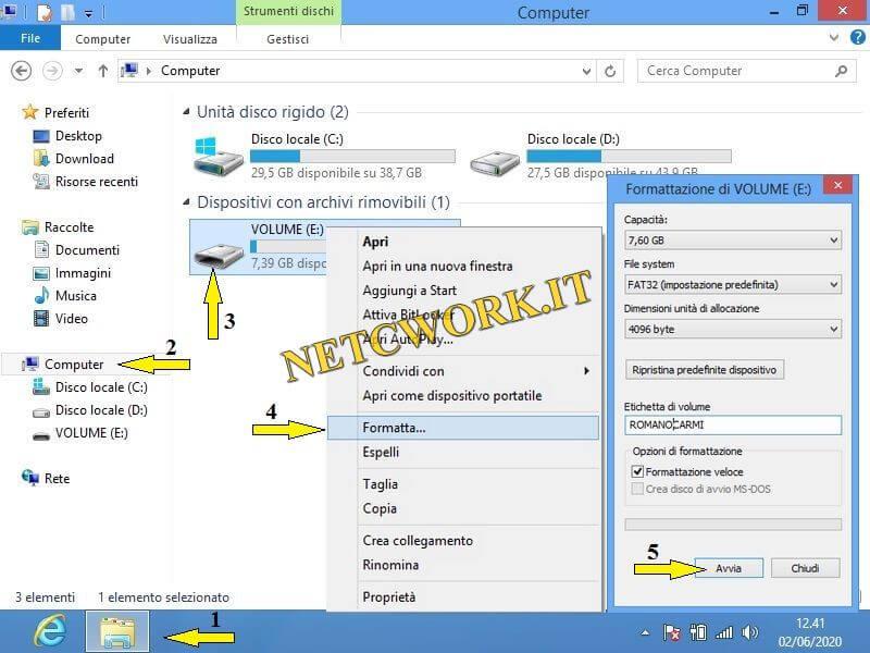 Formattare chiavette USB con Windows8