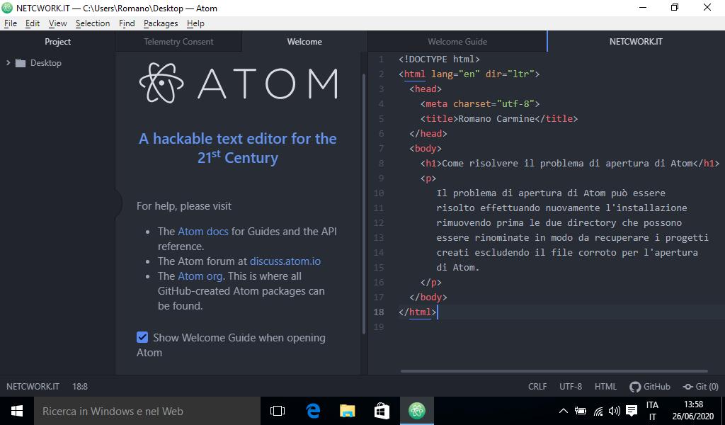 Problema di apertura con Atom in Windows
