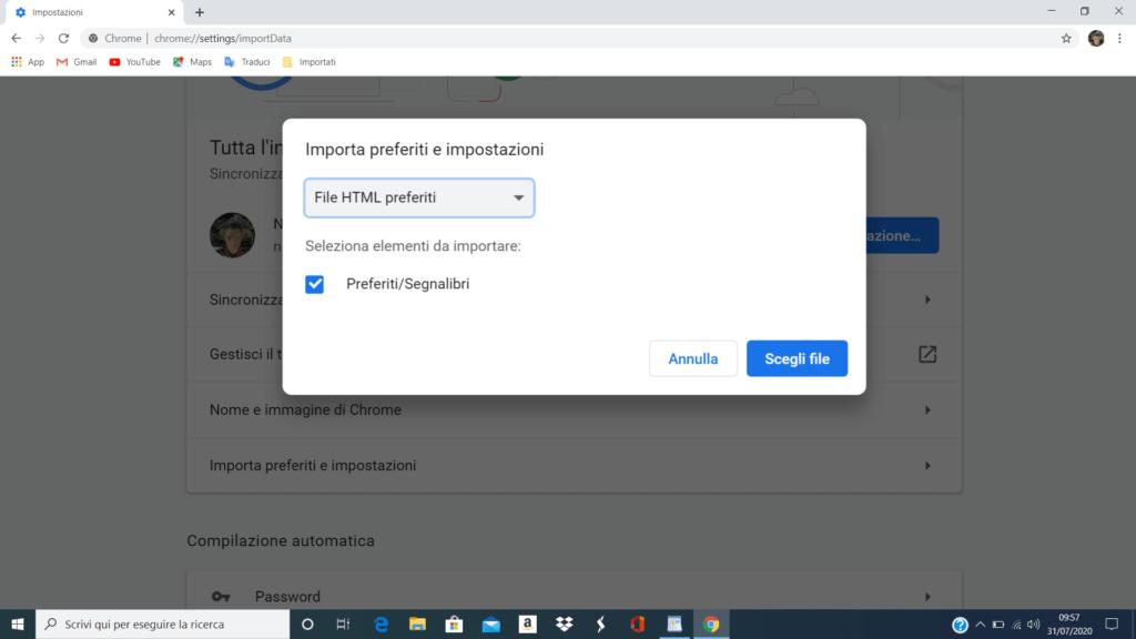 Importare preferiti in Google Chrome