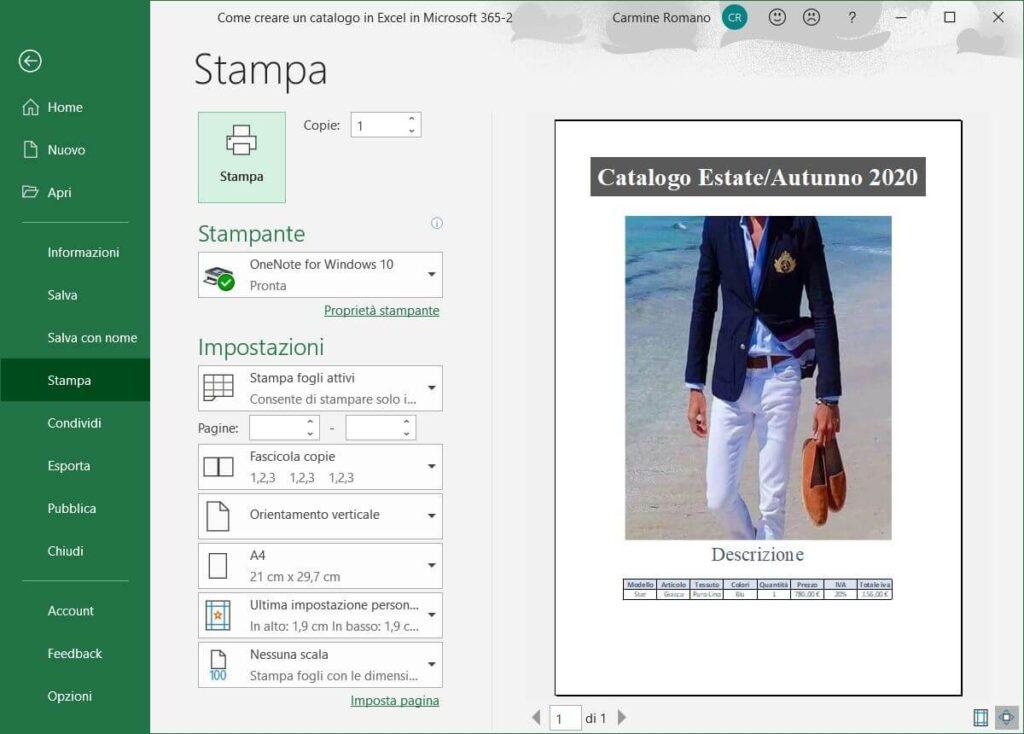 Creare un catalogo con Excel 365