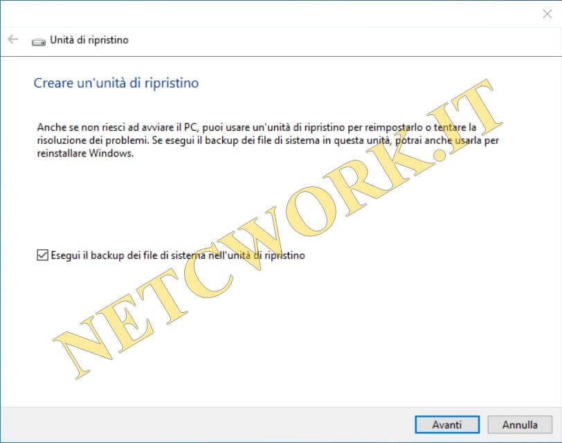 Come creare un disco di ripristino in Windows 10