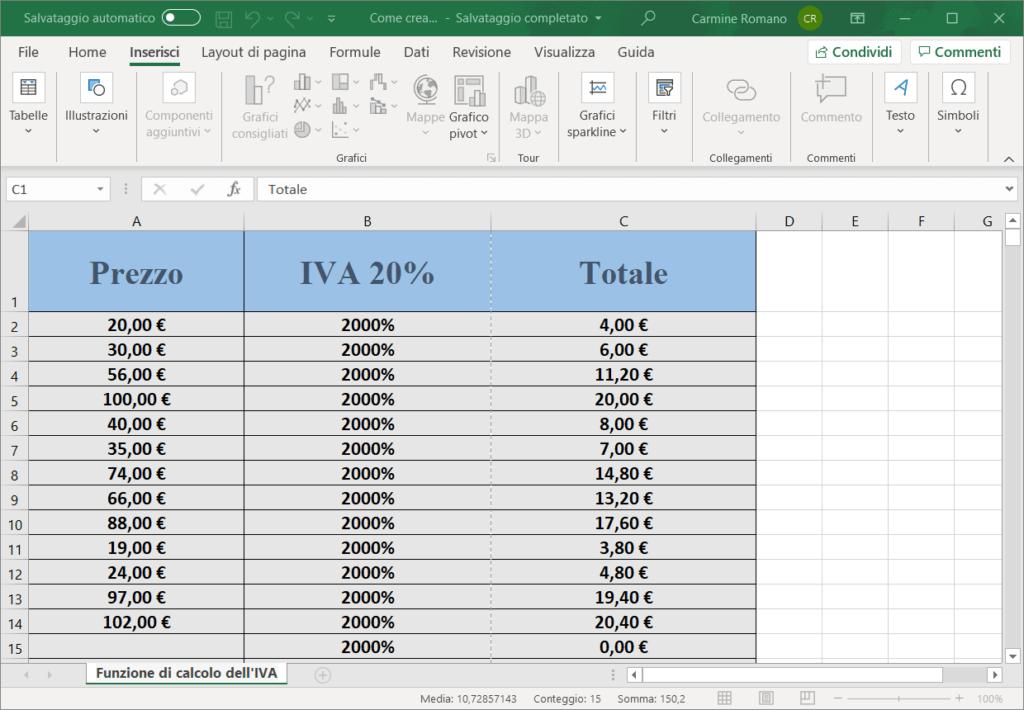 Funzione di calcolo IVA in Excel