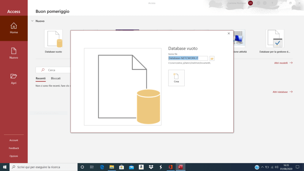 Come creare un database con Access 365