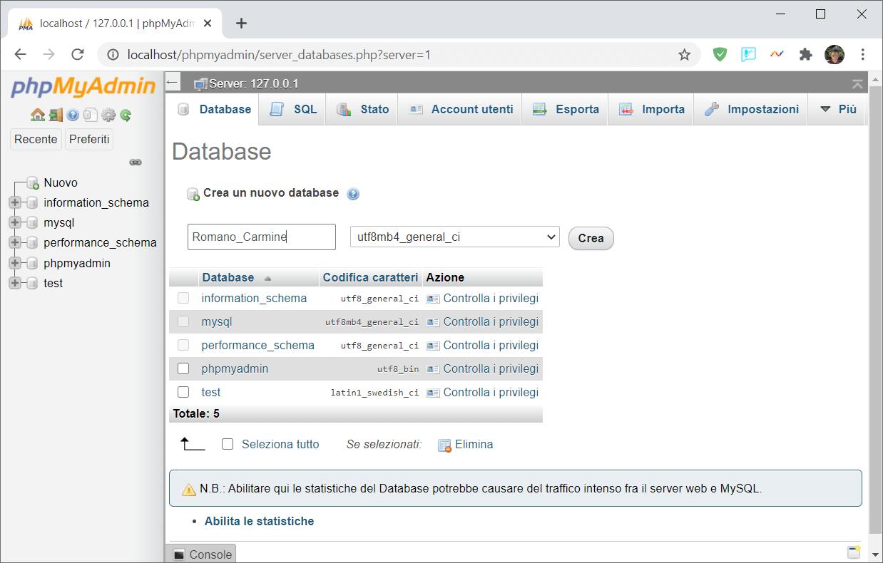 Come creare un database in phpMyAdmin
