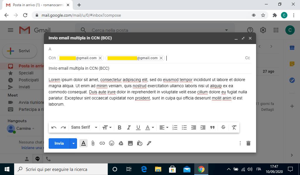 Inviare una email a molteplici destinatari