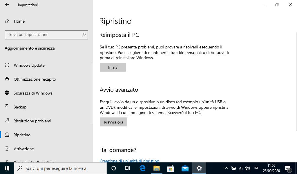 Reimposta PC in Windows 10