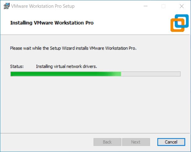 Fase finale installazione VMware