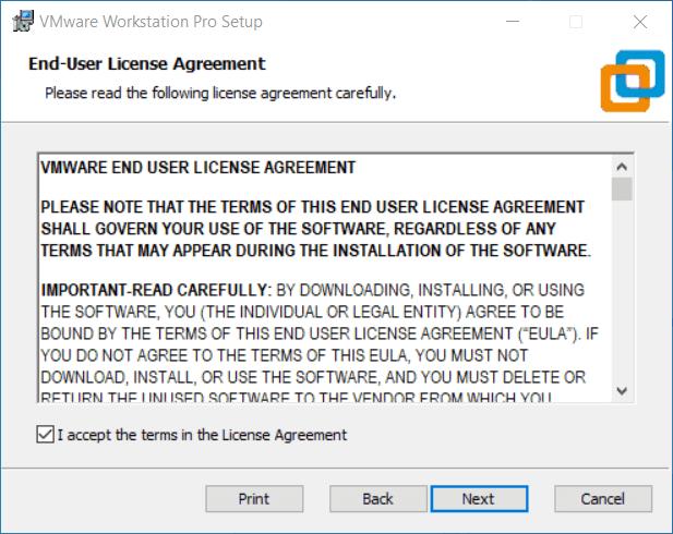 Accettazione dei termini di licenza in VMware
