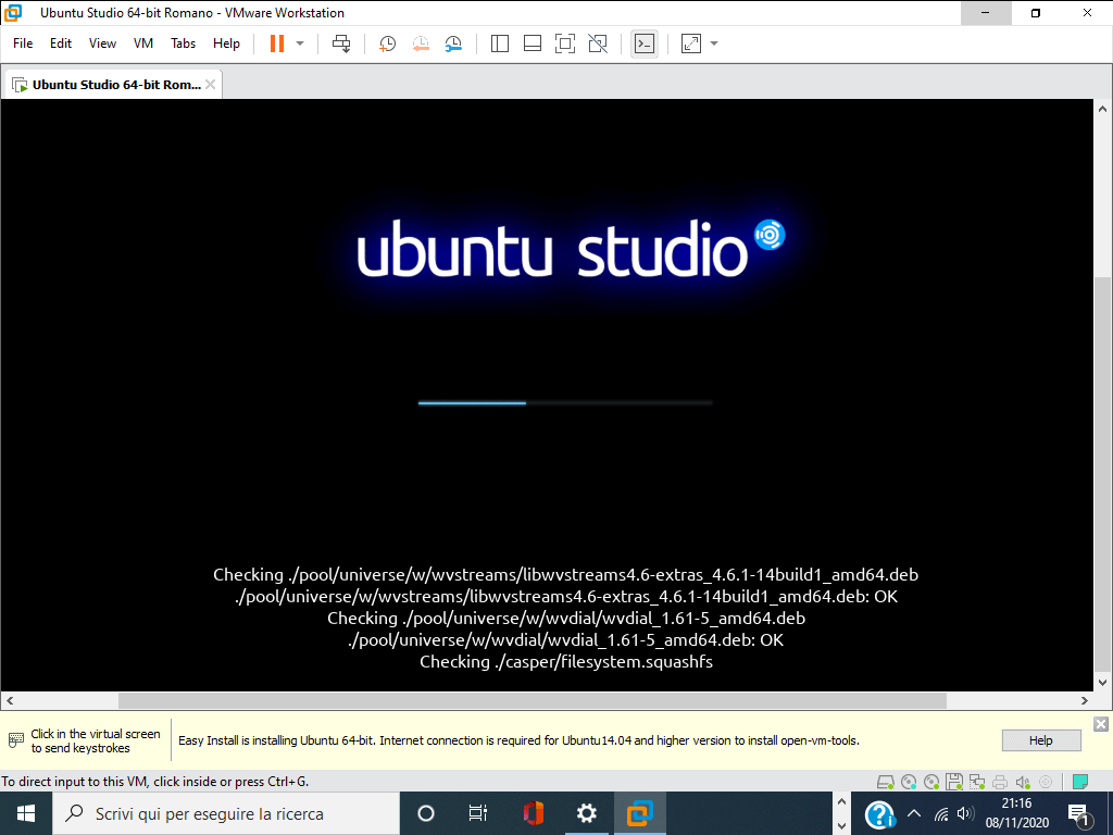 Come installare Ubuntu studio su VMware