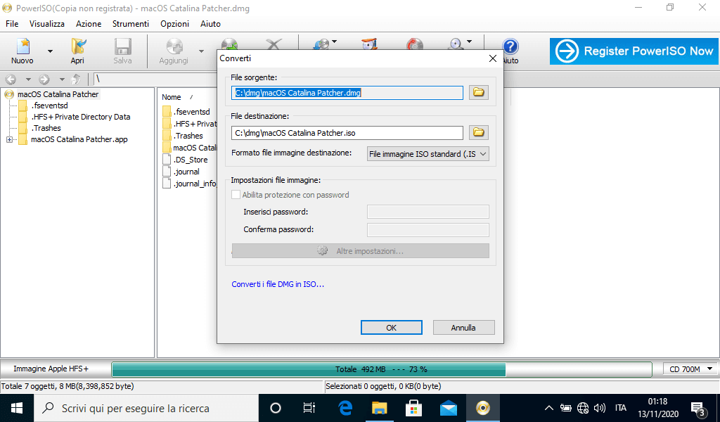 Come convertire un file dmg in ISO con Windows