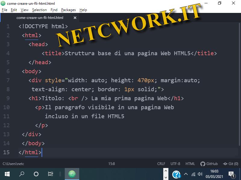 Come creare un file html