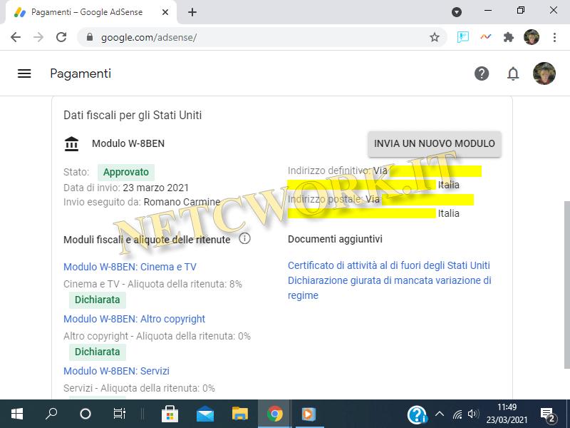 Fornire i dati fiscali a Google