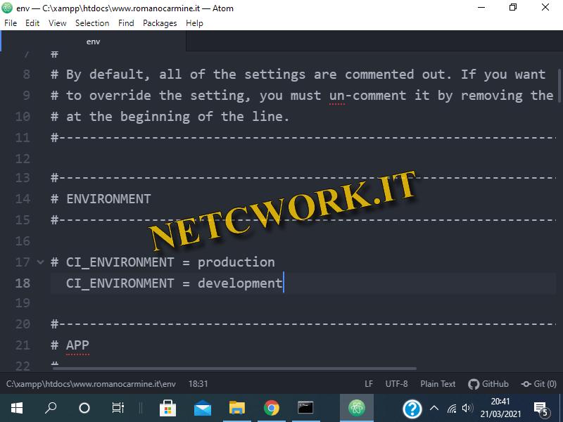 Come creare un progetto con CodeIgniter su Windows