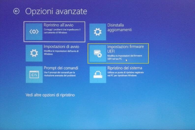 Opzioni avanzate di Windows