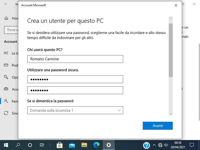 Come aggiungere un utente in Windows 10