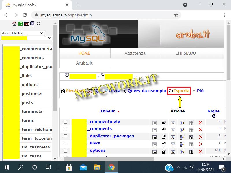 Come creare una copia di Backup in phpMyAdmin