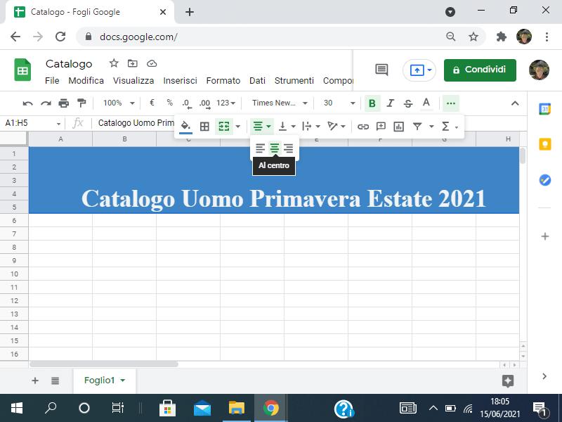 Centrare il testo in Google Sheets