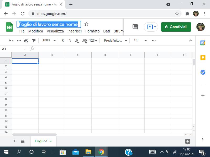 Creazione di un file in Google Sheets