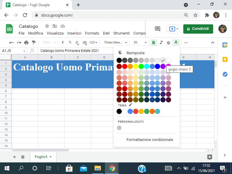 Colorare il testo in Sheets