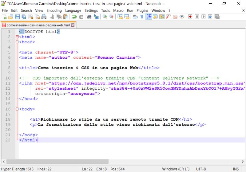 richiamare regole di stile CSS da una CDN