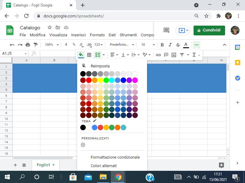 Colorare lo sfondo in Google sheets